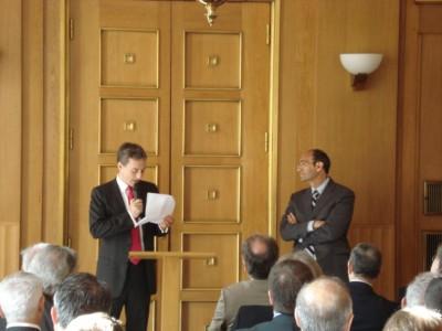 Présentation d'Eric Woerth, ministre du Budget, des Comptes publics et de la Fonction publique, par Thomas Legrain, Président du Club de l'Audace et Président de la société de lobbying TLConseil