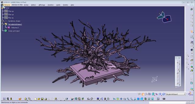 Conception sur un logiciel du projet de l'arbre en 3D