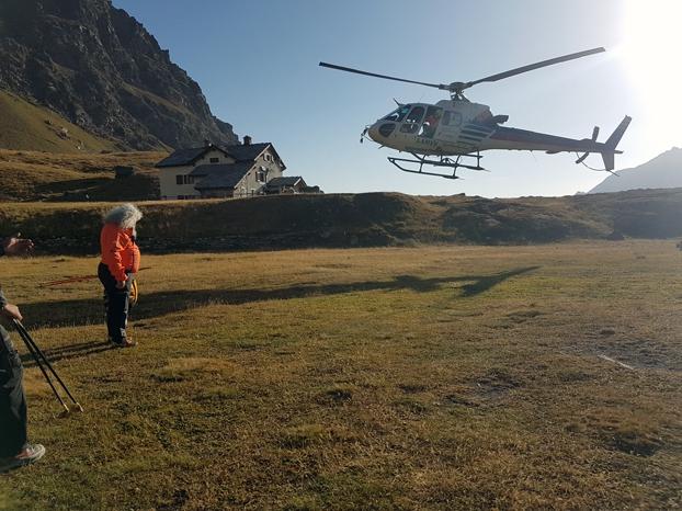 Arrivée de l'hélicoptère