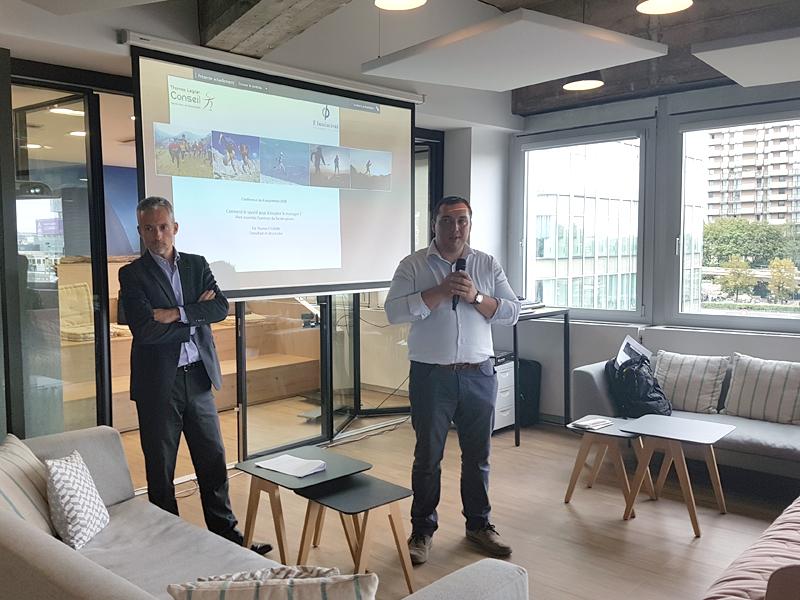 Conférence n°1 chez F-Iniciativas, partenaire de Thomas Legrain pour le Tor des Géants 2018 – « Comment le sportif peut-il inspirer le manager ? Vivre ensemble le Tor des Géants »